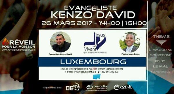 Kenzo David à l'église évangélique Jésus est vivant au Luxembourg le 26.03.2017.