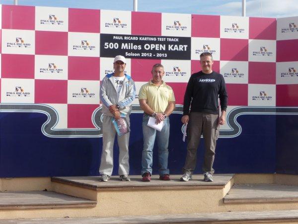 Deuxième manche des 500 miles.Photo notre podium