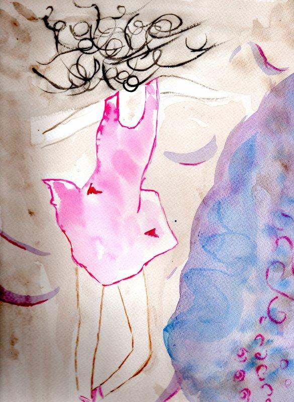Petite Ballerine , aquarelle.