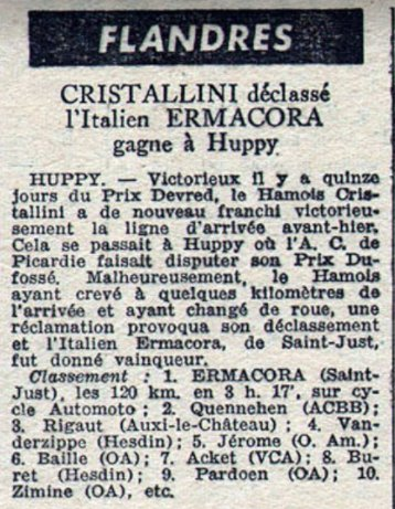 Calendrier Flandres 1950