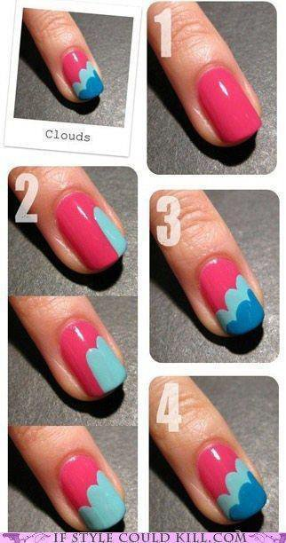 "nail art ""Clouds"""