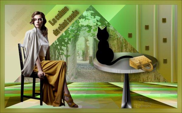 Le calme du chat assis