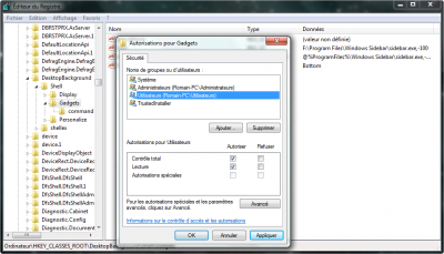 Astuce Windows 7Supprimer le module Gadgets du menu contextuel sous Windows 7