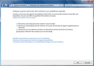 Astuce Windows 7  Désactiver la résolution des problèmes et le rapport d'erreur sous Windows 7