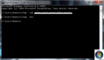 Astuce Windows 7, Vista, XP Changer sa clé d'activation via l'invite de commandes