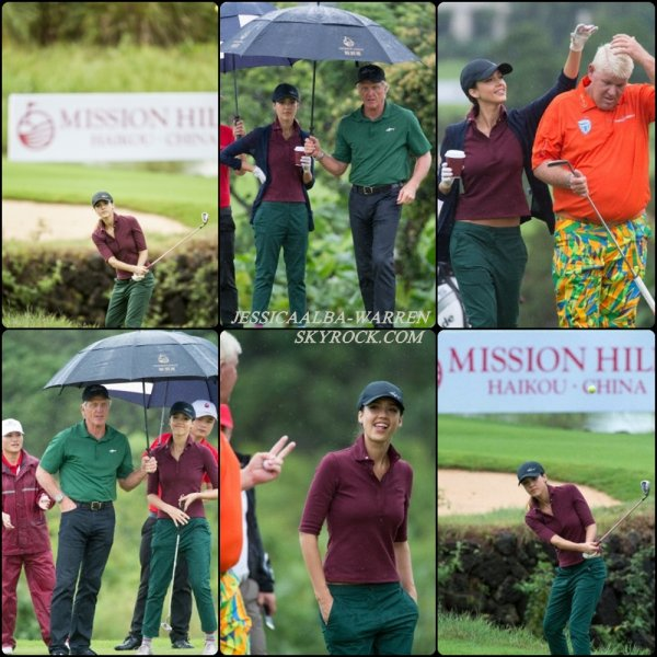 Plus tôt, et en tenue traditionnelle de golf Jessica à débuter le tournoi «Mission Hills World Celebrity Pro-Am» dans la province d'Haikou en Chine.