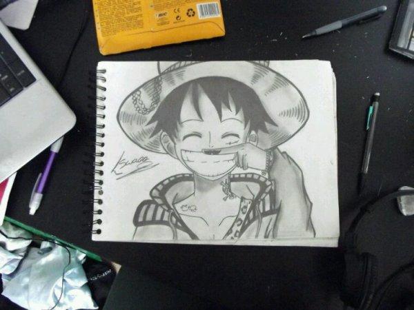 Luffy Swagg avec moustache ^-^ (Mon dessin #5)