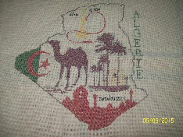 j'ai fais une broderie  l'Algérie pour une collège à mon mari.