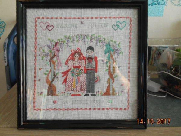 broderie pour le mariage d'une amie de ma belle soeur qui a choisi le modéle.