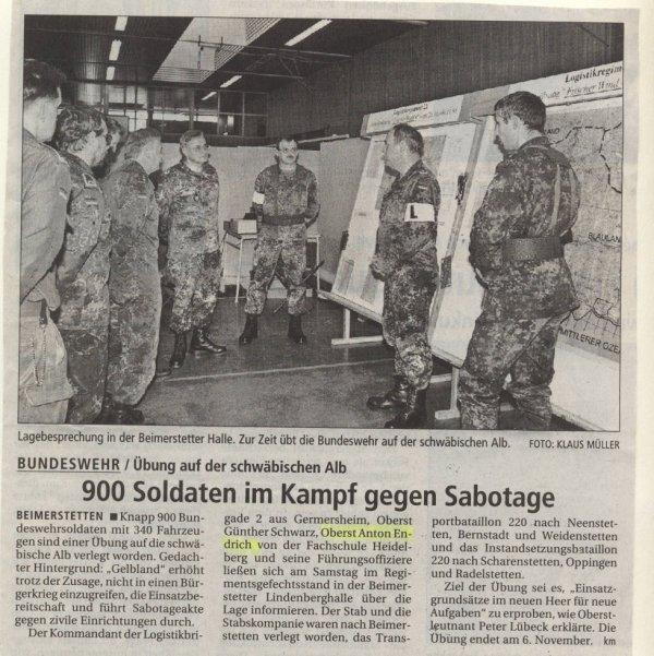 Einweisung in die Gefechtsstandsorganisation des LogRgt 21 am 31.Okober 1998