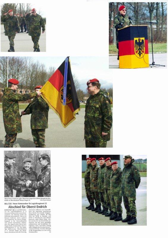 Übergabe des Kommandos LogRgt 22 von O Endrich an OTL Rieger am 20.März 2004