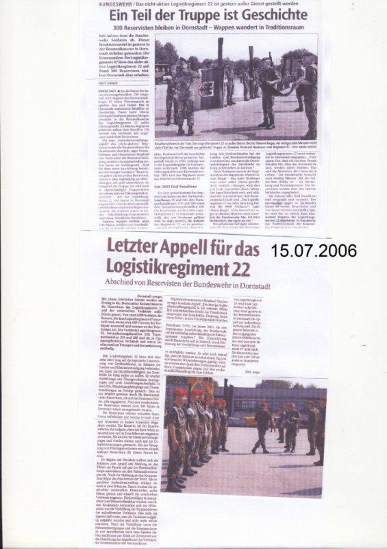 Außerdienststellungsappell LogRgt 22 am 14.07.2006 in Dornstadt
