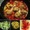 Courgettis avec des boulettes et sauce tomate y poivron jaune