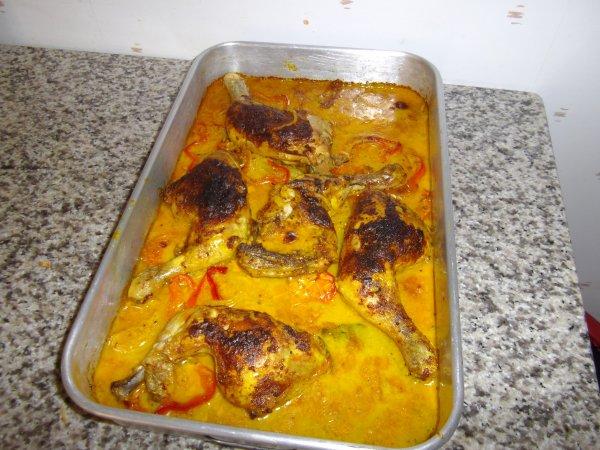 cuisses de poulet au four (sauce curry moutarde a l'ancienne)