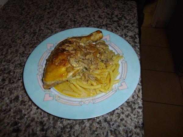cuisses de poulet curry paprika  sauce aux champignons