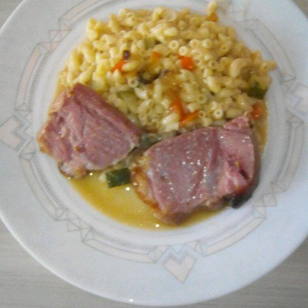 Risotto de couquillette poivron courgette et petit sale rôti au four