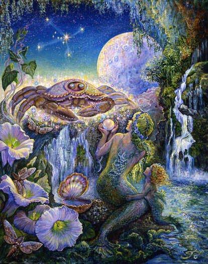 Cancer (Crabe), du 22 juin au 22 juillet « C'est le milieu vital, la souplesse jusqu'à l'instabilité. Le calme jusqu'à la paresse, la rêverie et l'imagination jusqu'à l'inconscience. »