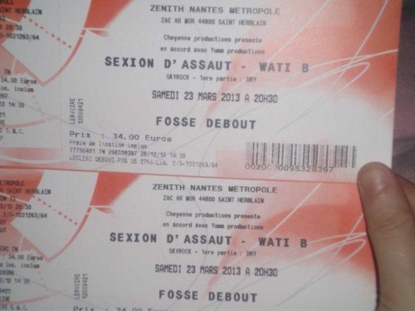 nos deux places de concerts sexion d'assaut a nantes 23/03/13