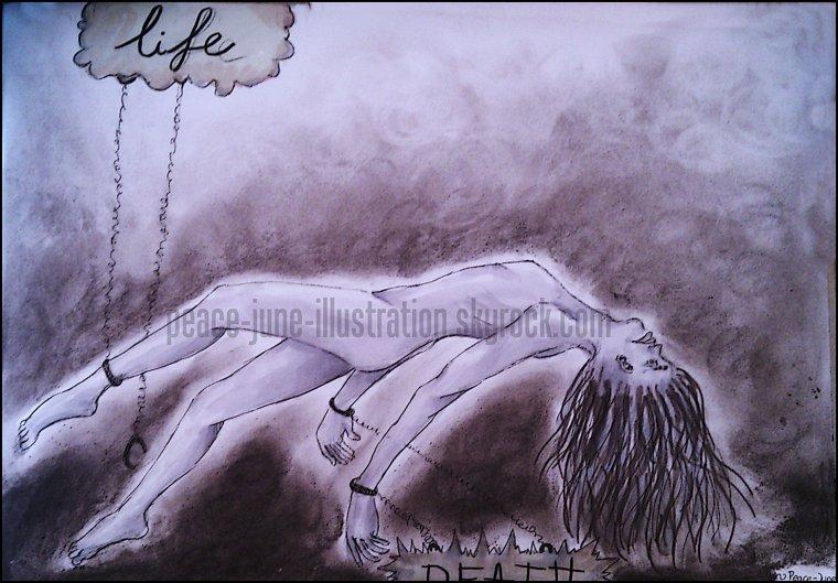 """Dessin issu de ma série """"always tears"""" : Entre la vie et la mort"""