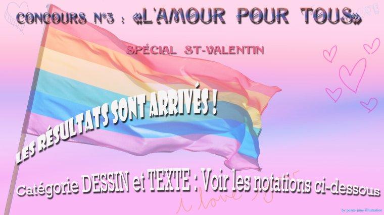 """Résultats du concours Dessin/Texte n*3: """"Amour pour tous"""" !!! =D"""
