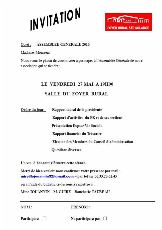 ARTICLE 190 - ASSEMBLEE GENERALE FOYER RURAL