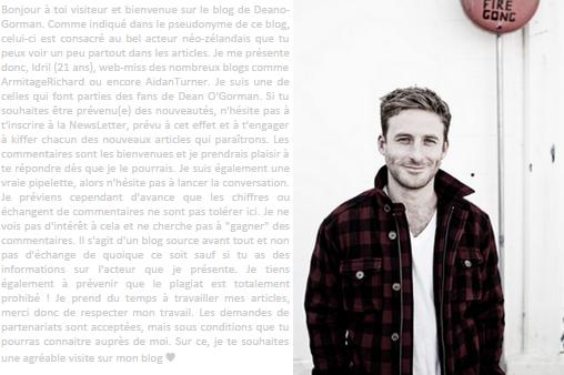 ~ Ton premier blog source francophone 100% Dean O'Gorman~ ~ Le charme Néo-Zélandais ici-même ! ~