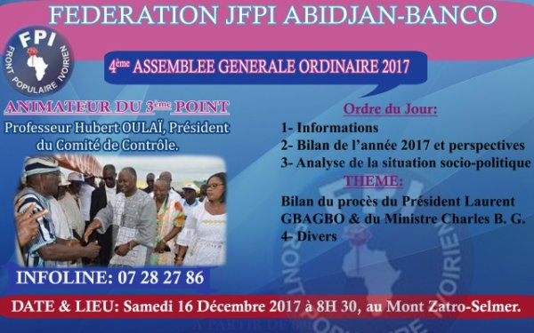 4EME ASSEMBLEE GENERALE ORDINAIRE 2017 DE LA FEDERATION JFPI ABIDJAN-BANCO.