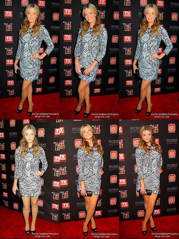 . 12/11/12 :Sasha Pieterse à l'évènement 'TV Guide Magazine Hot List Party'. Sasha nous à fait un gros top côté tenue, son make-up est très fin et simple. Côté coiffure c'est un petit top. .