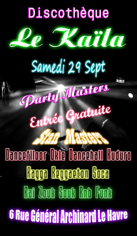 "Samedi 29 Sept "" Soirée Party Masters !!!"