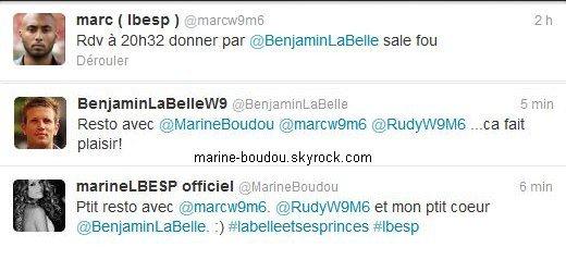 """22.o5.12 Sortie restau'Hier soir, le lundi 21 Mai 2012, Marine, Ben et quelques autres anciens-candidats de #LBESP sont sortis mangés un bout au restaurant. Ils étaient apparemment au """"Paradis du fruit"""", à Paris, d'après un tweet de Rudy. Pleins de photos et de messages ont été postés dans la soirée, quelle bande de GEEK ! ;-). Il y a donc beaucoup de choses à expliquer, et j'ai essayé d'en donner le maximum. Vos coups de ♥ ?"""