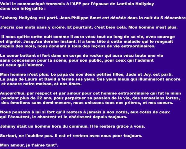 Le communiqué AFP de Laeticia Hallyday