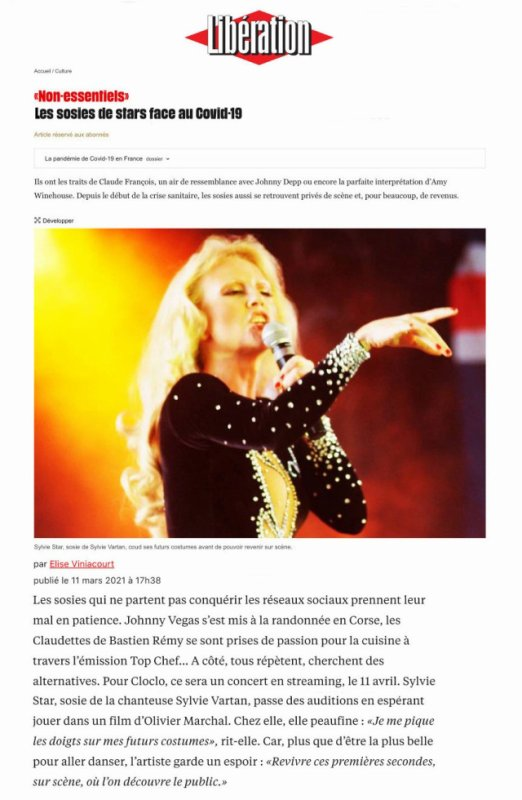 Sylvie STAR en interview dans Libération