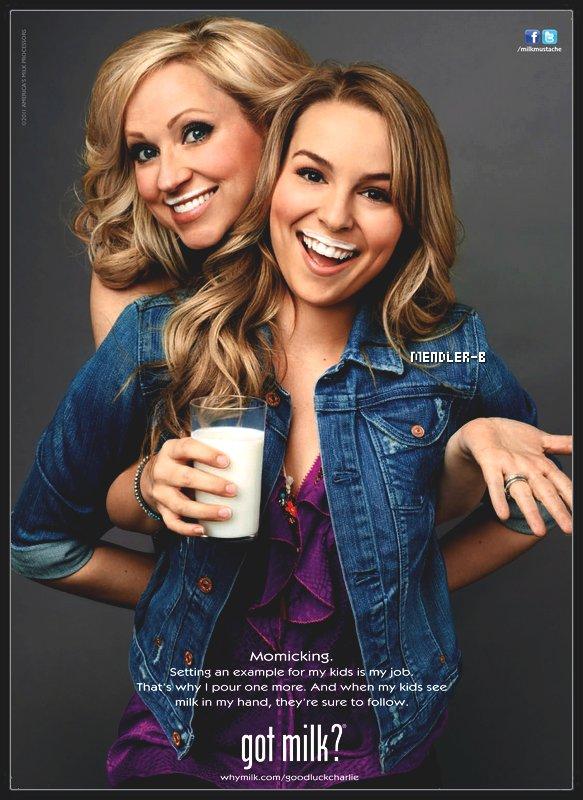 """Nouvelle Photoshoot de Bridgit avec sa co-star  Leigh Allyn-Baker Pour """"Got Milk ?""""Mon avis : Bridgit et sa co-star Leigh sont très belle toutes les deux pour la pub """"Got Milk ?"""" j'adore ce shoot :)"""