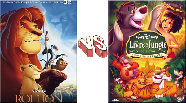 VS de Dessins-Animés - Dessins-Animés Disney Le Roi Lion VS Le Livre de la Jungle.