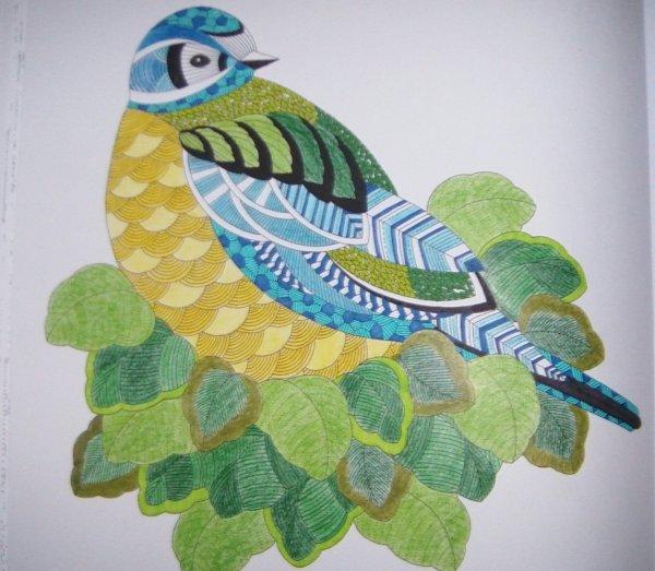 Animaux fantastiques art thérapie : la mésange bleue