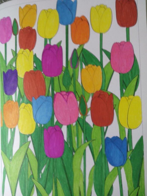 Au source du bien être,  jardins zen : les tulipes. Coloriages Nini