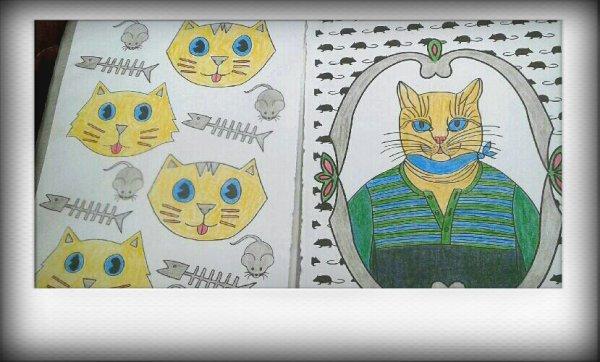 Chat thérapie. Coloriage de Papa