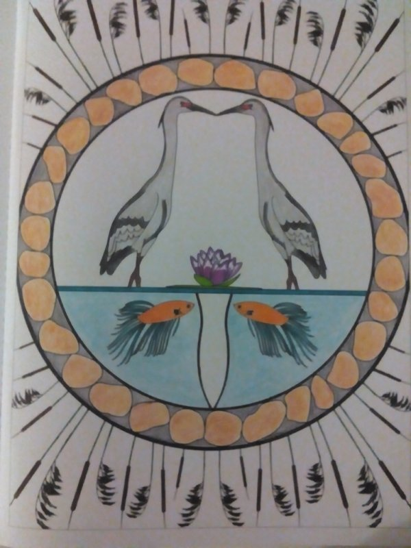 Au source du bien être,  jardins zen : les hérons. Coloriages Nini