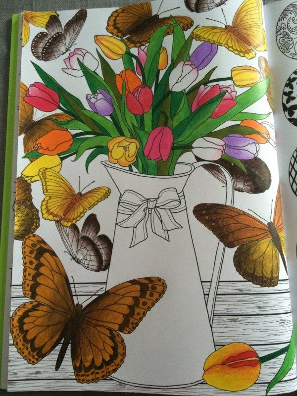 Art thérapie : printemps. Les fleurs et les papillons. Coloriage Lauryne