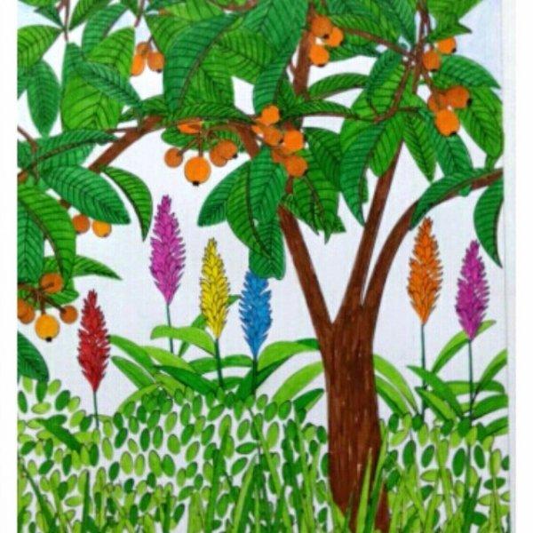 Aux sources du bien être,  jardin zen.  Coloriage Nini