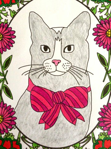 Chat thérapie. Coloriage de Lauryne