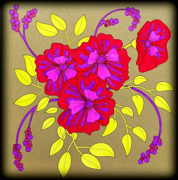 Art thérapie : fleurs exquises.  Coloriage Ticia