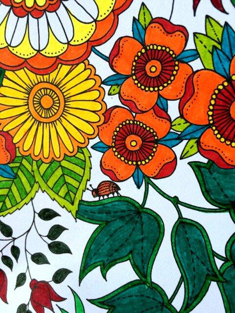 Calendrier 2016 de Johanna Basford : Secret Garden. Coloriage de Lauryne