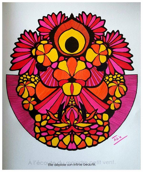 Art thérapie : mandalas zentangles. Coloriage Ticia