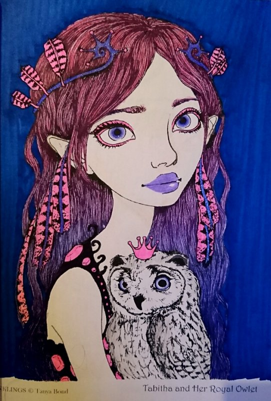 Inklings by Tanya Bond. Tabitha and her royal owlet.  Coloriage de Lauryne