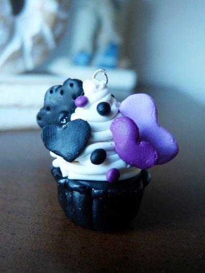 Pendentif ou porte-clefs Cupcake Violet/Noir