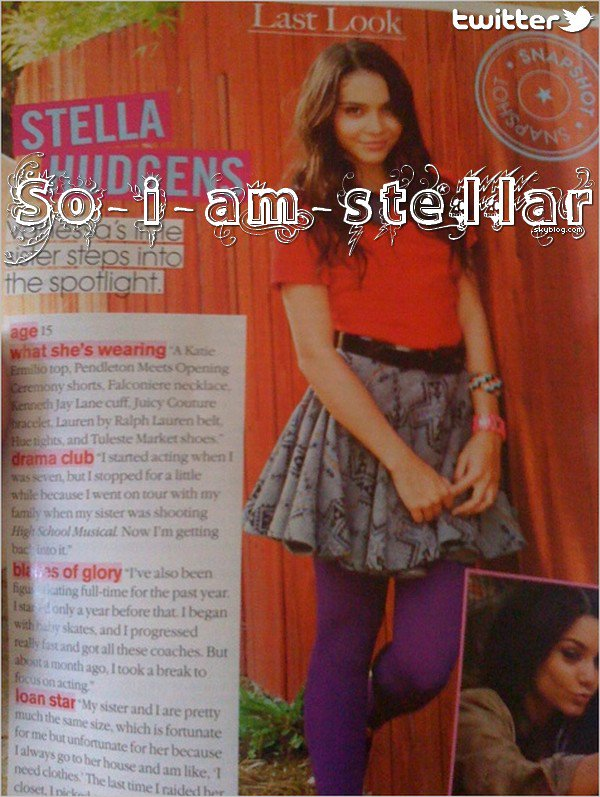 . 4 Août 2011: En exclu pour nous, Stella nous poste une photo du fameux Teen vogue de Septembre .