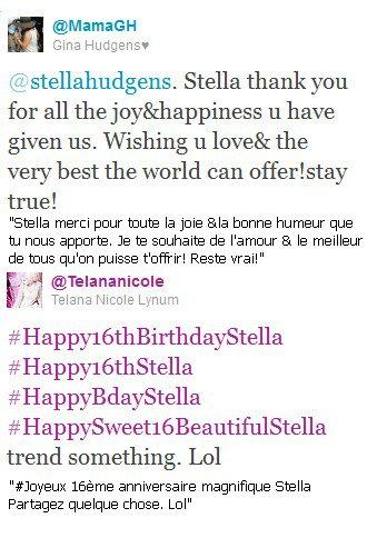 . Twitt de ses amis et de sa maman lui souhaitant un joyeux anniversaire... .