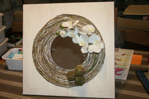 Petit test et tableau floral pour ma fille finie avec un miroir