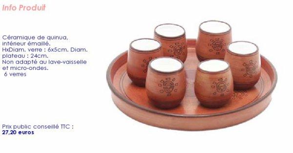 6 verres de tables avec son petit plateau assorti.